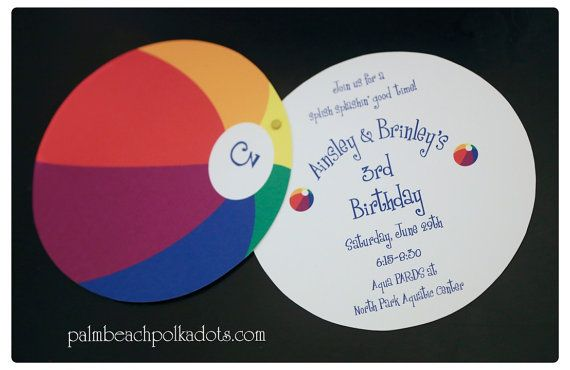 Pool Party Luau Beach Party Water Park Beach Ball beachball birthday invitation