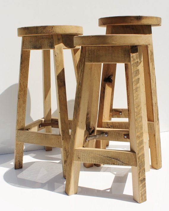 Magnificent Bar Stool Rustic Reclaimed Barn Wood Raw W Round Top Bralicious Painted Fabric Chair Ideas Braliciousco