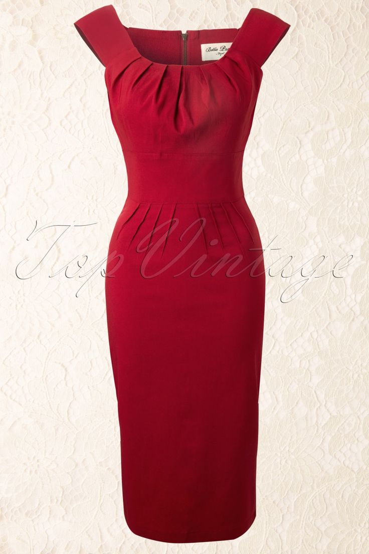 Bettie Page Clothing - 50s Holly Pencil Dress in Red