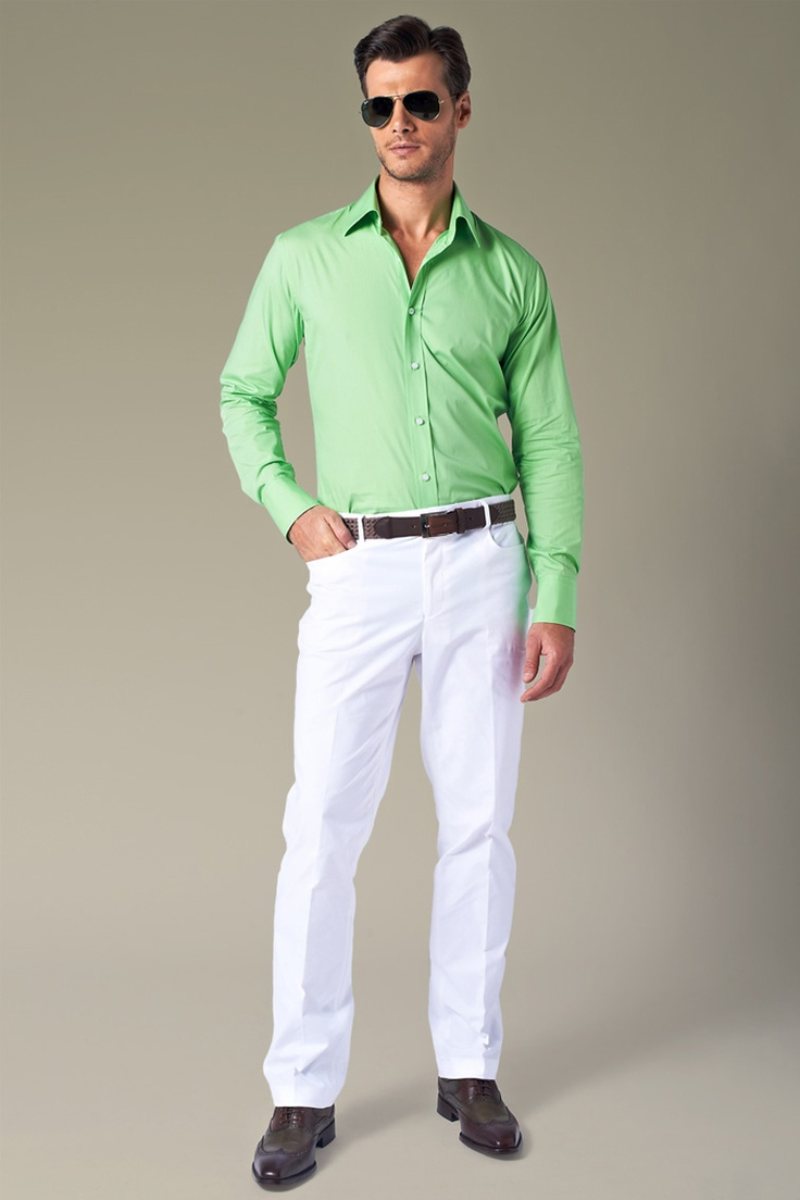 17 best images about men 39 s clothing on pinterest ralph for What color shirt goes with green pants