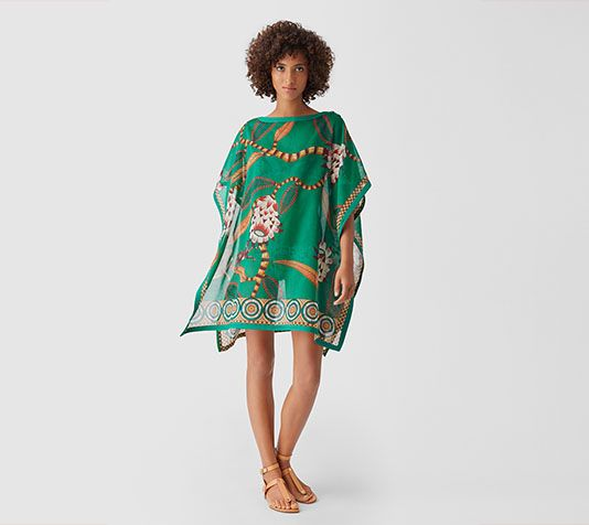 "Hermes tunic with ""Savana Dance"" print on cotton (100% cotton)"