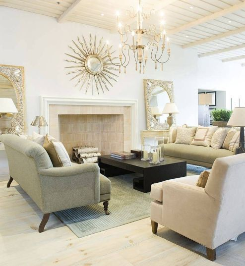 Love The Neutral Colors Sunburst Mirror Chandelier And Variety Of Textures In Accessories Fabrics This Room French Tangerine Mrs