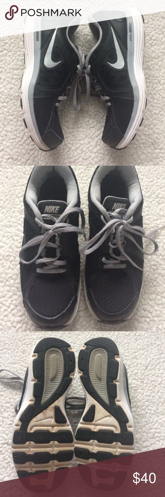 Nike Dual Fusion Black + Grey Good used condition, grey, black and white with silver logo. Some signs of wear - see photos for detail. Still with life left Nike Shoes Athletic Shoes