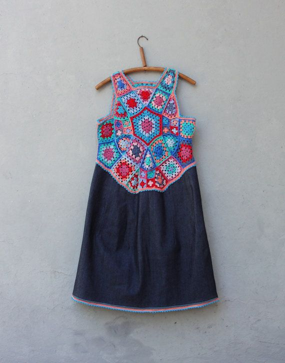 Rainbow Denim Dress Hand Crocheted Lace Dress by StarsWear on Etsy