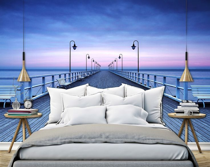 Non-Woven Wall Mural Pier at the Seaside Premium Wall Murals Non-Woven Wall Murals 8-part