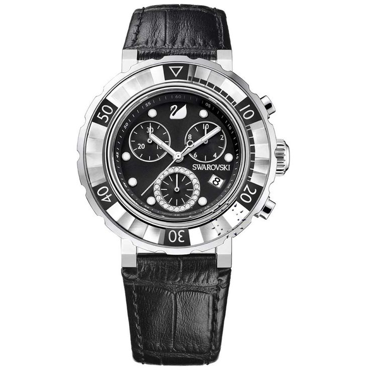 SWAROVSKI Octea Chrono Black Leather Strap Τιμή: 720€ http://www.oroloi.gr/product_info.php?products_id=29866
