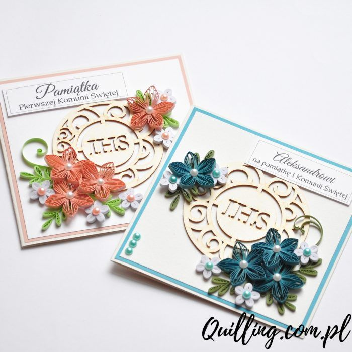 quilling, husking, DIY, handmade,paperart, greeting card, first communion, quilling.com.pl