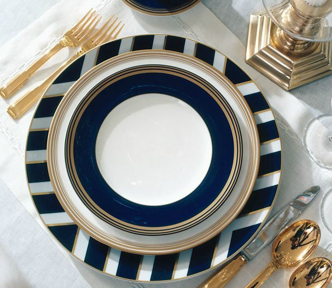 "Gold, white, and navy blue...such a beautiful pattern by Ralph Lauren ""Le Grand Hotel"" collection. Would make a really nice place setting for a dinner party!"