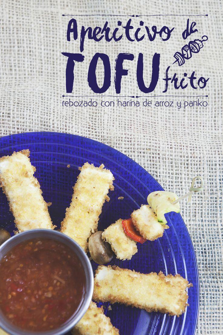 Aperitivo de Tofu Frito. Crujientes fingers de tofu o en brochetas con verduras #tofu #tofufrito