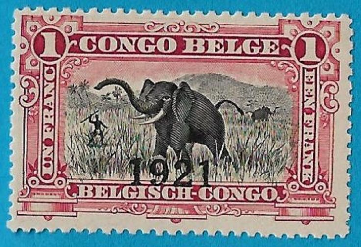 "+ 1921 Belgian Congo Native Hunting Elephant Overprint ""1921"" #70 A25 1Fr MH"