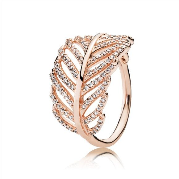 Pandora Rose Gold Leaf Ring Very delicate Pandora Rose leaf ring with cubic zirconia Pandora Jewelry Rings