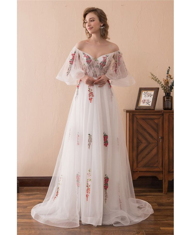 Fairy Tale Off The Shoulder Puffy Abiballkleid mit farbiger Stickerei # CH6674 – Gem …   – Bilder