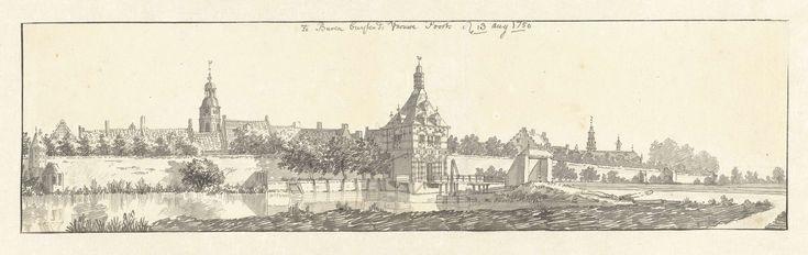 Gezicht op Buren met de Vrouwepoort, Jan de Beijer, 1750