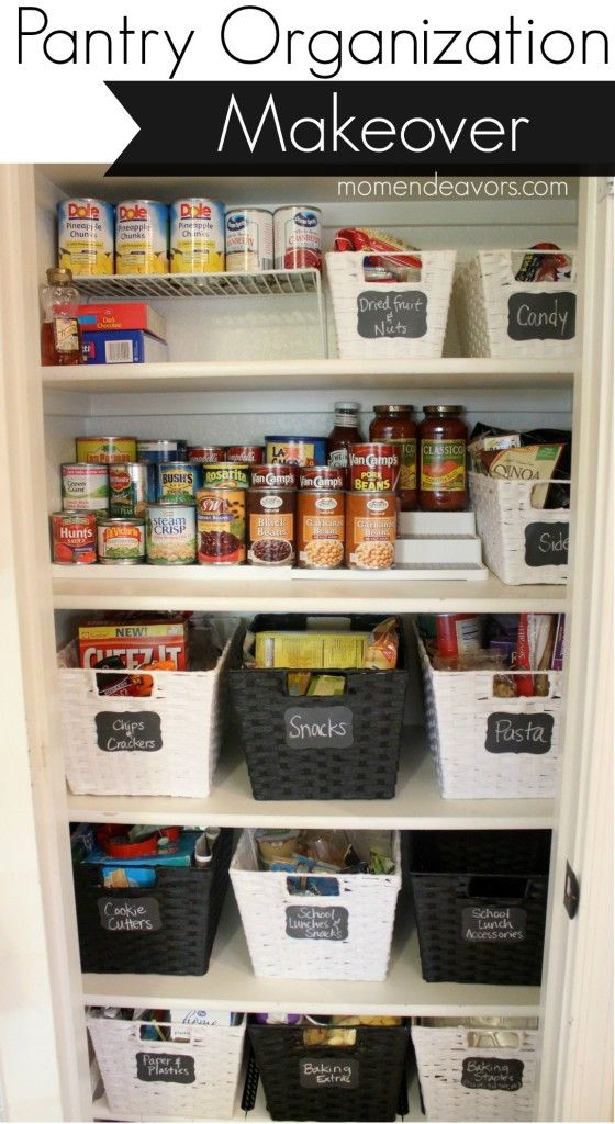 Pantry Organization Makeover. I like the bins for things like school lunch.