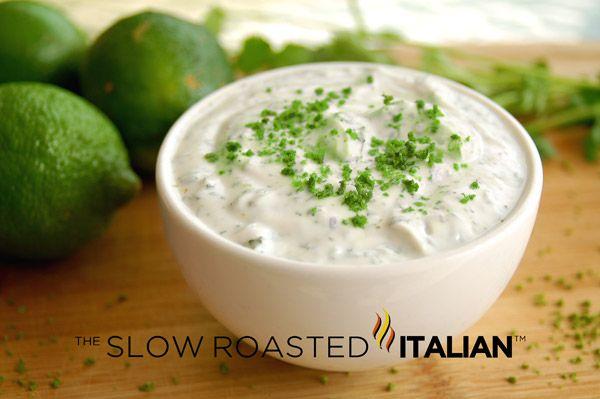 Cilantro Lime Yogurt Sauce  from theslowroasteditalian.com #dip #recipe