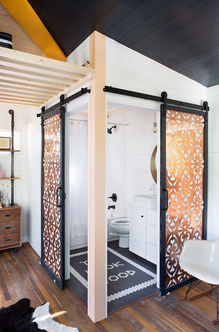 Sliding Bathroom Barn Door With Metal Lattice Work