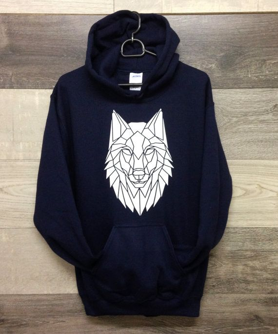 Geometric Wolf Print Hoodie, Unisex Wolf Design sweatshirt, Surfwear, Ski wear, Street Wear. Graphic print sweater, Cool Christmas Jumper