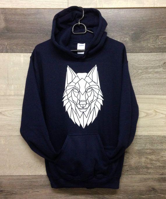 Geometric Wolf Print Hoodie, Unisex Wolf Design sweatshirt, Surfwear, Ski wear, Street Wear. Graphic print sweater, Cool Christmas Jumper