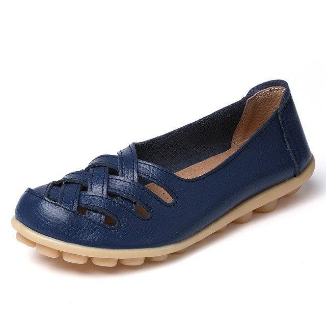 Navy Blue Casual Comfy Smooth Shoes with Lattice Hatched Upper - Comfo – Nodule Shoe