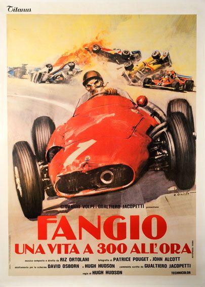 Fangio Italian car poster #F1 #Formula1 #FormulaOne