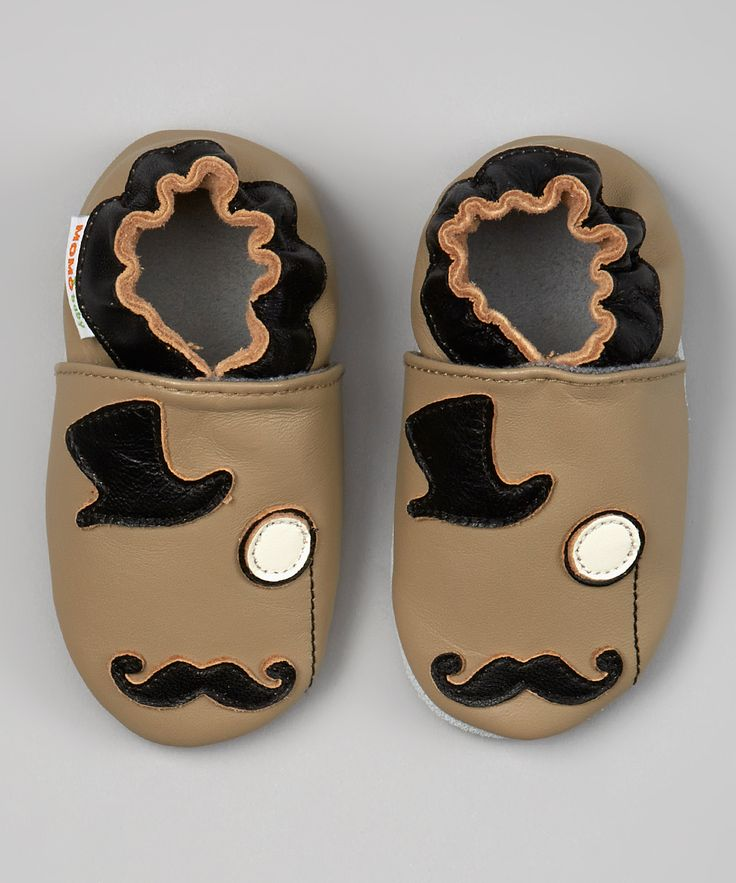 Taupe & Black Mustache Monocle Booties | Daily deals for moms, babies and kids