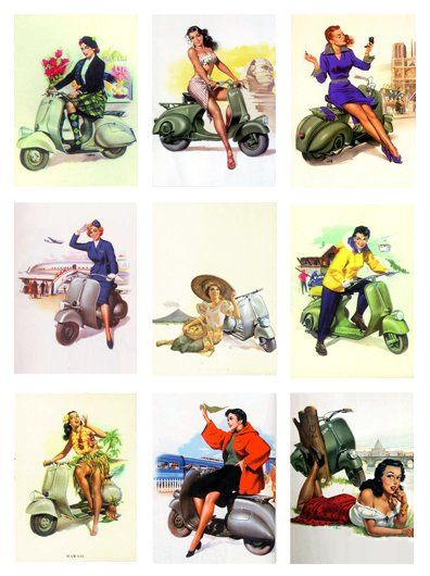 Pinups on Vespa, collection of artworks
