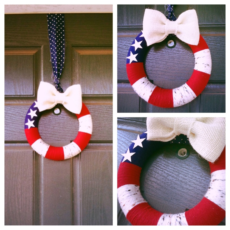 4th of July wreath yarn/burlap DIY