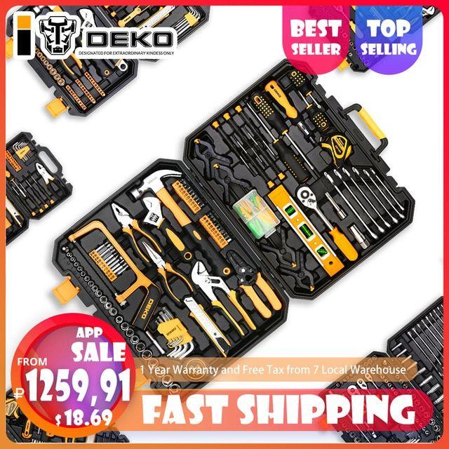 Deko Hand Tool Set General Household Repair Hand Tool Kit With