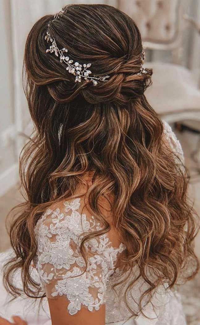 43 Gorgeous Half Up Half Down Hairstyles - Fabmood | Wedding Colors, Wedding Themes, Wedding color palettes #halfupweddinghair