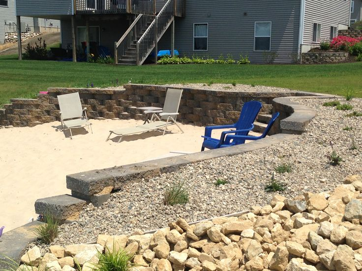 Retaining wall for beach area on lakefront property for Lakefront landscaping photos