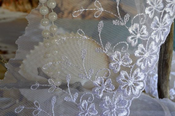 tulle lace floral embroidered 11cm wide by TheQuiltedCheese