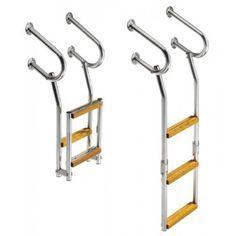 Escalera Plegable inox 3 peldaños de Madera, fijaciones extra largas. Escaleras Náuticas. Escaleras para Embarcaciones.Venta Online deArtículos&nbs