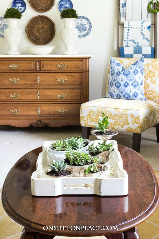Coffee Table Succulent Garden In Vintage Silver French Country Farmhouse Succulents Home Decor