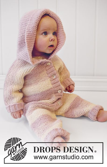"Playdate by DROPS Design Knitted DROPS suit in garter st with hood in 2 strands ""Alpaca"". Size 0 Size: 0/1 - 1/3 - 6/9 - 12/18 months (2 - 3/4) years Size in cm: 48/52 - 56/62 - 68/74 - 80/86 (92 - 98/104) Materials: DROPS ALPACA from Garnstudio 150-200-200-200-200-250-250 g colour no 100, off white 250-250-300-300-350-400 g colour no 3112, dusty pink Find the free pattern here: link"