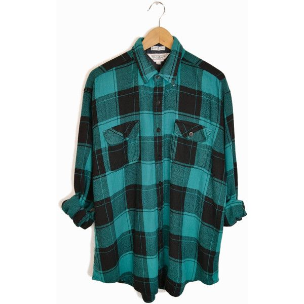 Vintage Men's Buffalo Plaid Flannel Shirt in Teal & Black - large (48 CAD) ❤ liked on Polyvore featuring men's fashion, men's clothing, men's shirts and men's casual shirts