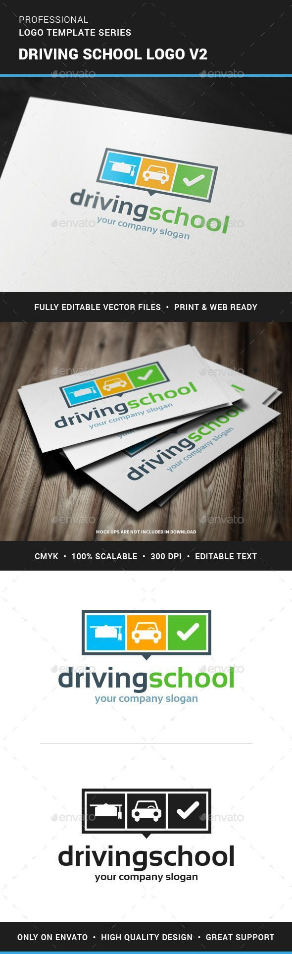 Driving School Logo Template Vector EPS, AI. Download here: http://graphicriver.net/item/driving-school-logo-v2/11874942?ref=ksioks