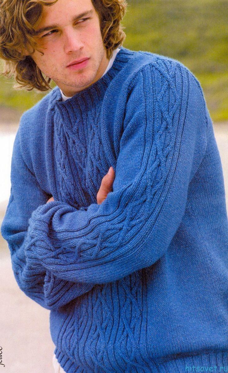 Джемпер спицами Голубая лагуна