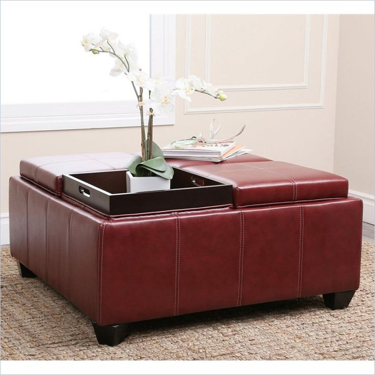 High Quality Abbyson Living Trapani Square Faux Leather Ottoman Coffee Table In Red