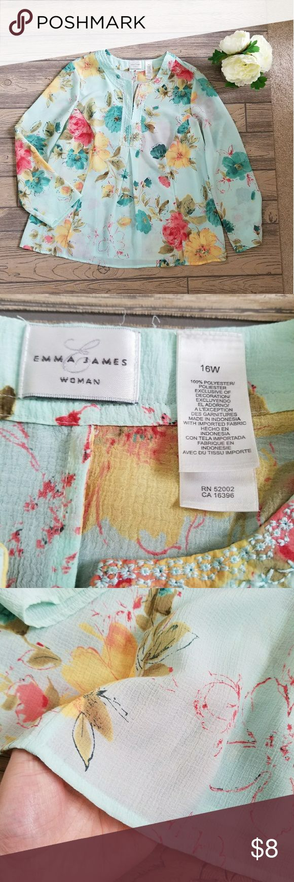 """Emma James Blue Floral Sheer Tunic Top Sz 16W Women's pre-owned Emma James light blue floral print tunic top. Long sleeves, embroidery around the neck. Semi-sheer. Comes to mid-hip length. Size 16W. Excellent pre-owned condition with no holes, tears, or stains.   Underarm to underarm laid flat: 23.5"""" Hip width laid flat: 27"""" Length: 26"""" Emma James Tops Tunics"""