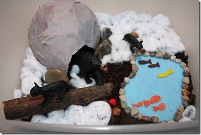 Bear Sensory Tub, making different themed tubs for habitat education would keep you busy for a few months