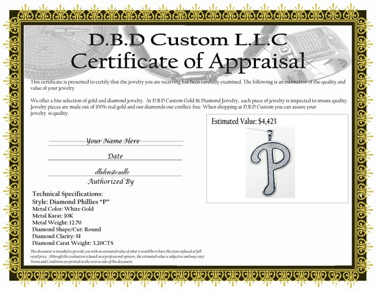 Jewelry Appraisal Certificate Template | Is A Senior Reverse Home ...