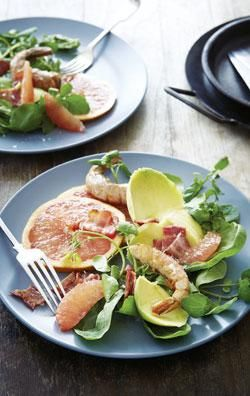grapefruit avocado and prawn salad with warm bacon and citrus dressing