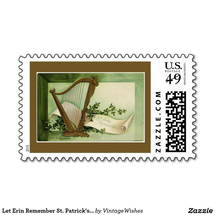 Let Erin Remember St. Patrick's Day Gold Postage Stamp