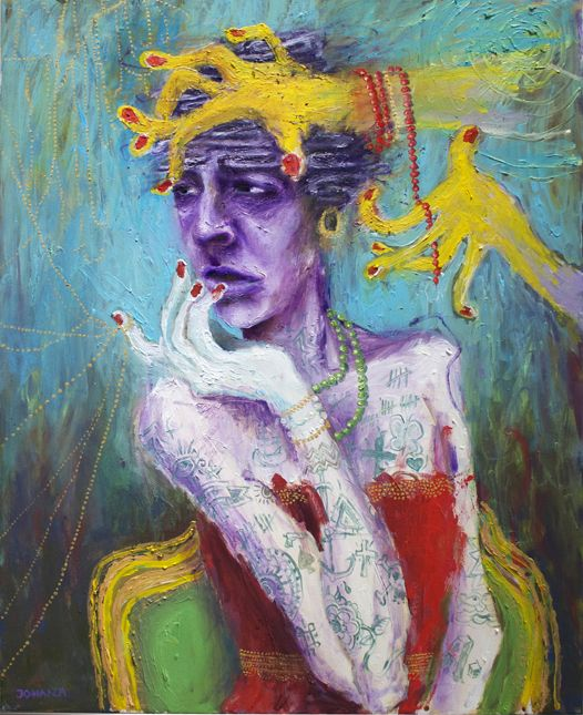 Oljemålning på linneduk / Fine Art Print:  I närheten av något som vet allting bäst. www.johanadamsson.se