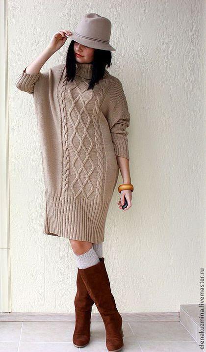 Купить или заказать Платье 'Milky dress' в интернет-магазине на Ярмарке Мастеров. Платье-свитер свободного покроя, большой воротник, широкая резинка, узор из кос. Длина до колена. Рисунок только спереди. Большая палитра цветов. (пряжа пр-ва Италия). Меринос. Возможно изготовление в другом составе пряжи.
