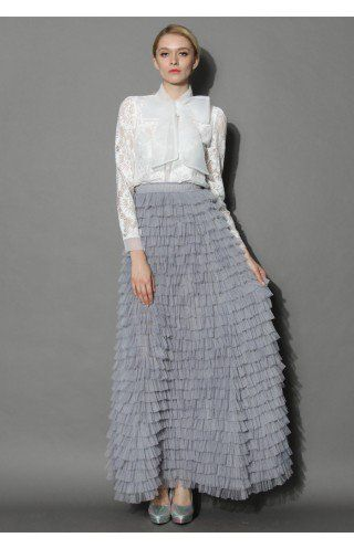 Swan Cloud Maxi Skirt in Grey - Tulle Skirt - Trend and Style - Retro, Indie and Unique Fashion