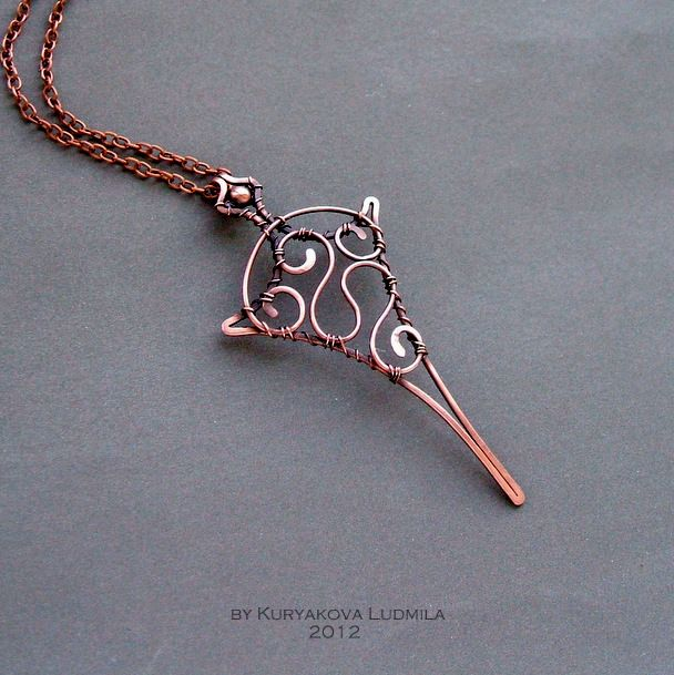 CUPID'S ARROW copper pendant, made by hand by KL-WireDream on DeviantArt