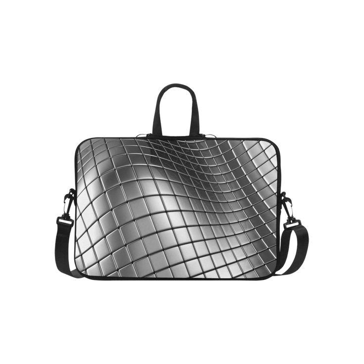 """3D Silver Chrome Cubes Laptop Handbags 15"""""""