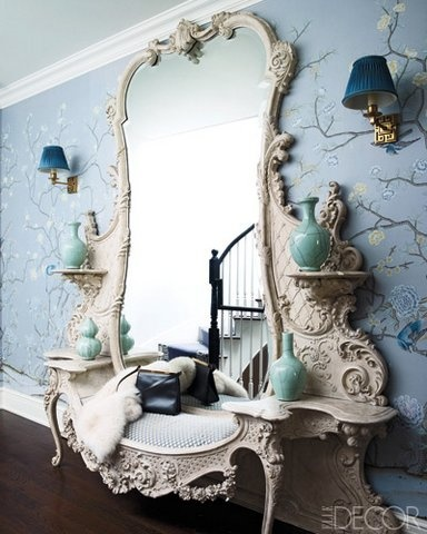 black, white and silver blue - a decadent bench