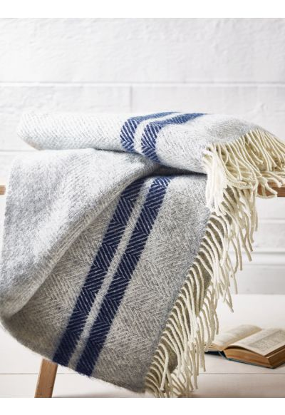 NEW Wool Throw - Blue French Stripe - Bed & Bath - Indoor Living